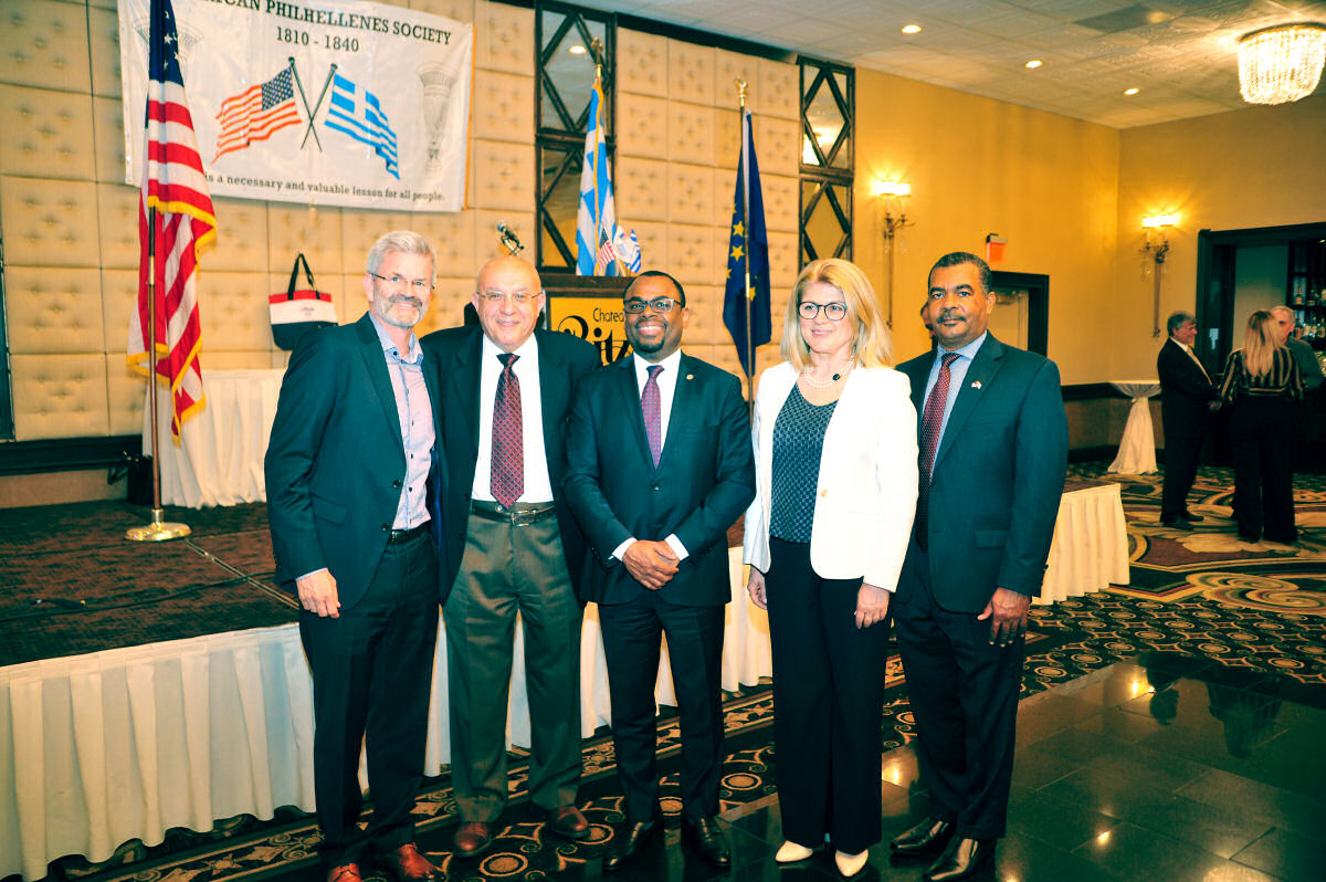 2019 Thore Groev, Peter Nikolopoulos, Haitian Minister Emmanuel, Consul General Dimakis, Haitian Consul Jacques