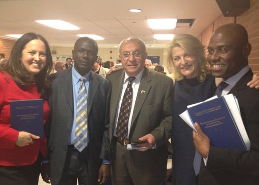 Mariyana Spyropoulos (Comissioner Metropolitan Water Reclamation District of Chicago), Ernst Pierre Jeune (Haitian Consular Agent), Panagiotis Nikolopoulos, Mrs. Photini Tomai, Spana David (Haitian Vice Consul in Chicago). 05/12/2012