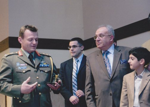 Brig. Gen. Ilias Leontaris presenting Leadership Award to Mr. Panagiotis Nikolopoulos